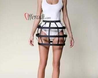 Mini Black Round Modern Cage Skirt Avantgarde Festival Fashion