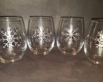 Steamless Snowflake Wine Glasses