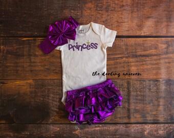 Princess infant girl bodysuit, baby girl bodysuit, baby girl outfit, infant outfit, purple bloomers, princess outfit, purple princess