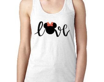 Love Minnie Shirt, Disney Minnie Love womens shirt, Disney Tank, Custom Disney Shirt, Disney  Racerback Tank, Disney Vacation Tank