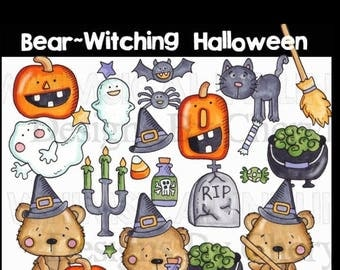 Bear-witching Halloween instant download PNGS for small commercial use