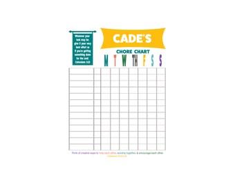 Chore Chart; weekly chore chart; chore chart for kids; personalized chore chart; digital print chore chart; digital chore chart for kids;