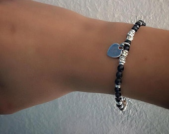 Faceted Onyx gemstone bracelet, 925 Silver nuggets and heart charm