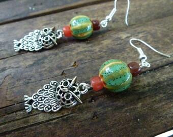 Pearl Earrings, dangle, OWL charm, porcelain, Thai, green, Orange, Brown, Silver 925