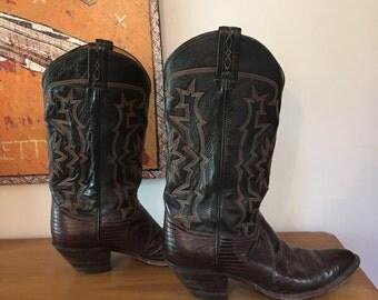 Vintage Tony Lama boots // Black Label // Lizard skin cowboy boots // Rockabilly