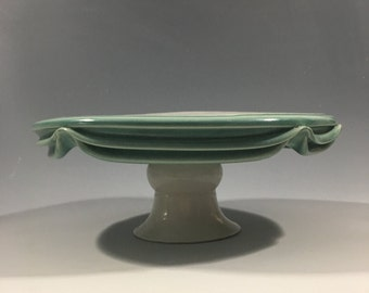 Large Green and White Cake Stand
