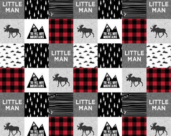 Little Man Fabric by the Yard. Quilting Cotton or Minky. Children's Fabric, Boy Nursery, Black and White Mountains Moose Forest Monochrome