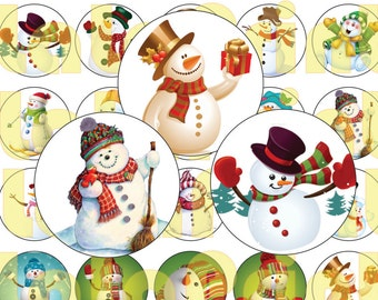 30 Christmas Snowman Digital Party Stickers Circles size 1'' and 1.5''  sheet A4 (8.5''x11'') Bottle Cap images Cupcake Toppers New Year