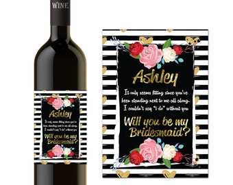 "PERSONALIZED WINE BOTTLE Bridesmaid Maid of Honor Can't say ""I Do"" without you"