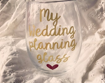 Wedding planning glass, engagement gift, engagement gifts for best friend, engagement gift for bride, engagement gifts for her, engagement
