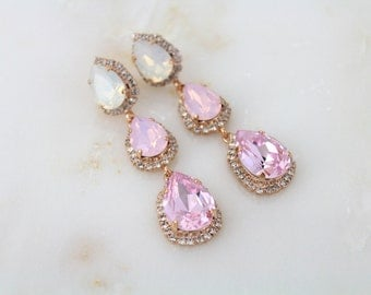 Bridal earrings, Rose gold earrings, Wedding jewelry, Crystal earrings, Pink Opal earrings, Swarovski crystal earrings, Chandelier earrings