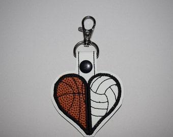 Sports Heart Basketball and Volleyball Keychain