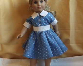 Pretty 1950s Style Dress with Full Circular Skirt for American Girl or Similar 18 inch Dolls (Our Generation, Gotz)