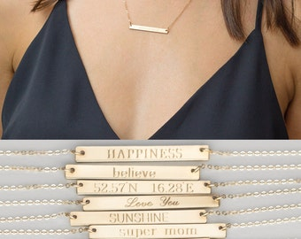 NamePlate Necklace, Gold Bar Necklace, Gold Name Plate Necklace, Personalized Bar Necklace,Sterling Silver Bar Necklace,Initial Bar Necklace