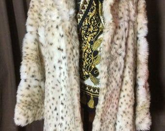 Stunning Vintage faux fur Snow Leopard Coat size 12-14