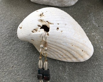 Silver and Black Beaded Drop Earrings