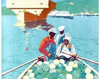Vintage USSR River Volga Tourism Poster A3 Print