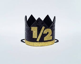 Boy 6 months Half 1/2 Birthday Crown in Black and Gold for Cake Smash Photo Prop Pictures