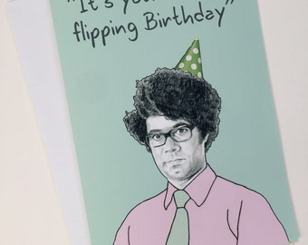 Moss IT Crowd Illustrative A5 Birthday Card