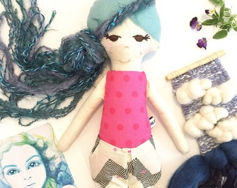 "One of a Kind Heirloom Doll// Handmade Cloth Doll// Fabric Doll// Cloth Doll// Rag Doll// Keepsake Doll// ""Bronte"""