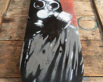 Spray paint stencil - gas mask: skateboard wall art (small)