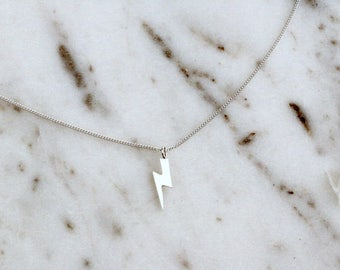 NEW Lightening Bolt Necklace, Simple Sterling Silver Dainty Necklace, Minimal Lightening Bolt Choker Necklace
