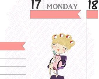 Hair salon, hair cut, hair color, planner stickers, reminder sticker, blonde hair girl