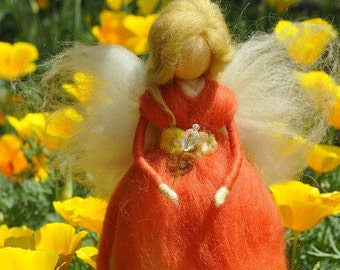 Wool Needle felted fairy Waldorf fairy Felted Doll Waldorf Inspired Ecofriendly Nursery Decor