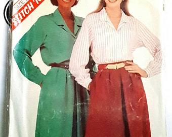 1982 McCall's 8163 Misses Blouse and Skirt Sizes 12-16 uncut FF NOS Sewing Pattern ReTrO 80s Style!