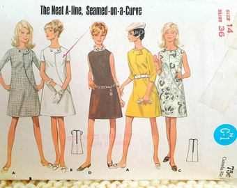 1968 Butterick 4818 Misses Curved Seam Dress Size 14 CUT Complete Sewing Pattern ReTrO Mod!