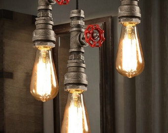 SPECIAL PRICING!! Retro Loft Industrial Pipe, Pendant Lamp, Rustic Lamp, Metal Lamp, Industrial Lighting, Steampunk lamp