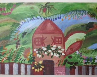 Primative Garden Cottage Painting on Pine by NC Folk Artist / Outsider Artist Annie Signed and Dated #4