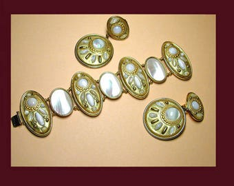 Vintage mother-of-pearl bracelet earrings UNSIGNED MICHAL GOLAN