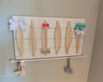 Bow Holder Bow organizer headband holder headband organizer neutral bow holder white nursery decor rustic bow holder