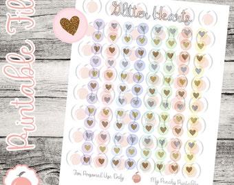 Pastel Glitter Heart Icons // Printable Planner Stickers // Glitter Planner Stickers // Glitter Icons