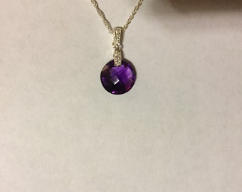Checkerboard amethyst on a silver chain made in Italy