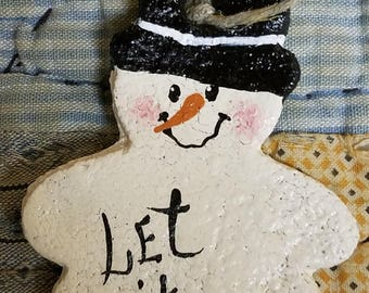 Let It Snow Rustic Salt Dough Snowman Ornament with Top Hat Can Be Personalized