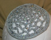 Lace Ladies Silver/gray Sequins Yarmulkah Hand Crocheted