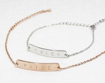 Same Day Shipping Til 3 p.m EST,Gold Name Bar Bracelet-Engraved bracelet,silver, custom bracelet,engraving, personalized jewelry,Christmas