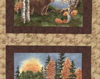 Birchbark Lodge by Holly Tayler - Bear/Moose Fabric Panel
