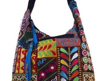 Shoulder Patchwork Handbag - Shoulder Patchwork Bag, Colorful hippie patchwork bag, suede gypsy handbag, hobo bag, Shoulder Handmade bag