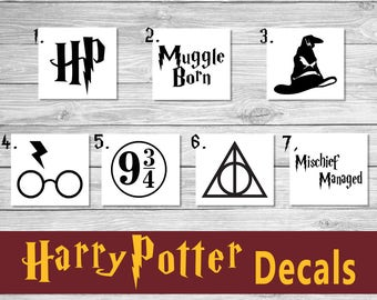 Harry Potter Decal - Assorted Decals - Muggle Born - Platform 9 3/4 - Mischief Managed - Deathly Hallows