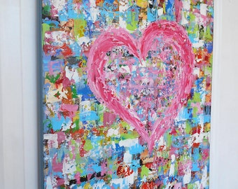 Original Abstract Painting, Pink Wall Art Canvas, Heart Painting, Palette Knife Art, Impasto Painting, Impressionist Art, Mother's day Gift