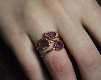 Raw Ruby Ring // Copper Electroformed Jewlery