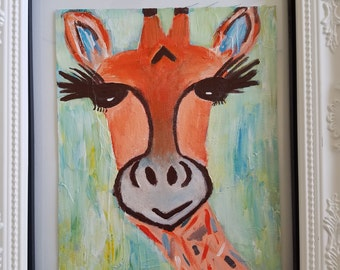 8x10 Giraffe Painting on Canvas. Whimsical Animal Art. Wall Art. Home Decor. Abstract. Available as Print also.