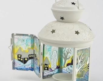 Lantern, Stained glass lantern, Candleholder, Glass Candle Holder, Decorative lantern, Glass painting, Hanging candleholder, Hanging lights