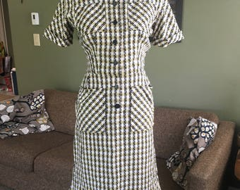 Darling 1950's plaid summer shirtdress with pockets! Wildman Original, size M, vintage VLV rockabilly wiggle dress