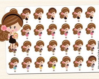 Makeup Planner Stickers Date Night Stickers Makeup Stickers Girls Night Out All Dolled Up Brunette Asian Blonde Black Red Head Fits ECLP TN