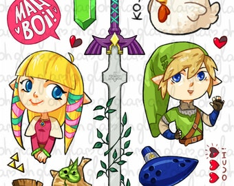 Legend of Zelda sticker sheet