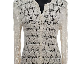 Charming Vintage White Lace Crocheted Cardigan